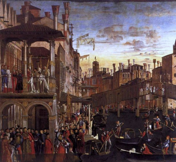 Vittore Carpaccio, Miracle of the Relic of the Holy Cross (The Healing of the Madman) (c. 1496). Gallerie dell'Accademia - Venice.
